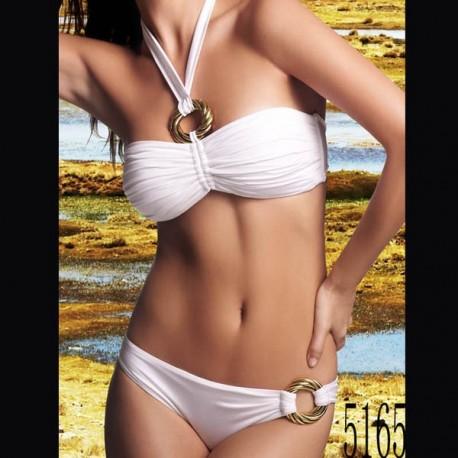 Maillot de bain : Bikini bandeau blanc