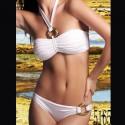 Zweiteiler: Bandeau-Bikini in Weiß