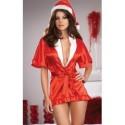 Kimono aus rotem Satin & Weihnachtsfraumütze