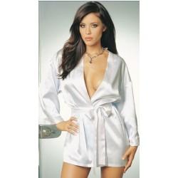 Kimono – Morgenmantel aus weißem, rosa oder schwarzem Satin