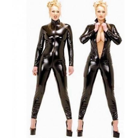 CatSuit Combinaison en cuir zippée devant