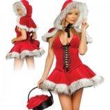 Weihnachtsfraukostüm: Kleid + Umhang & Kapuze