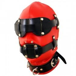 BDSM-Ledermaske in Rot & Schwarz - Vollständige Unterwerfung