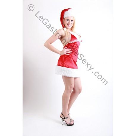 Hautenges, sexy Weihnachtsfrau-Nachthemd + Mütze
