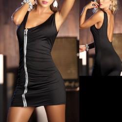 Schwarzes, sexy, hautenges Kleid - Reißverschluss, rückenfrei