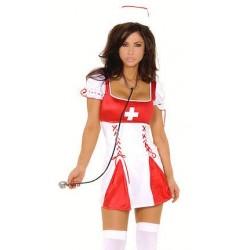 Hautenges Krankenschwester-Kleid mit Haube
