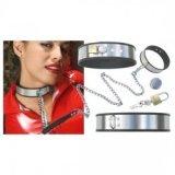 Verstellbares Halsband aus rostfreiem Stahl zur Zähmung + Kette + Hängeschloss - SM