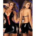 Robe Vinyle Noir Super Sexy DosSuper sexy, rückenfreies Kleid aus Vinyl in Schwarz - Rote Schnüre nu - Lacets rouges