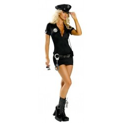 Kostüm: Sexy, hautenges Polizistinnen-Kleid