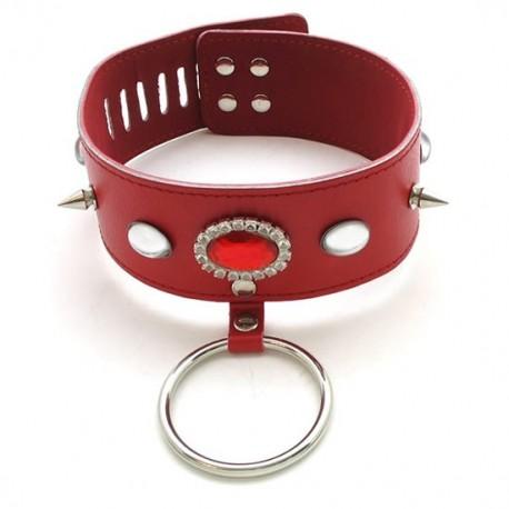 Lederhalsband mit rotem, ellipsenförmigem Stein, Spikes und Ring