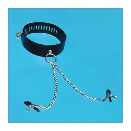 Halsband im Lederstil + Nippelklemmen!