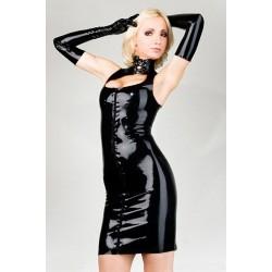Kleid & Handschuhe aus schwarzen Vinyl, tiefer Ausschnitt & sexy hauteng