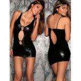 Kurzes Kleid im Wet Look - Offen