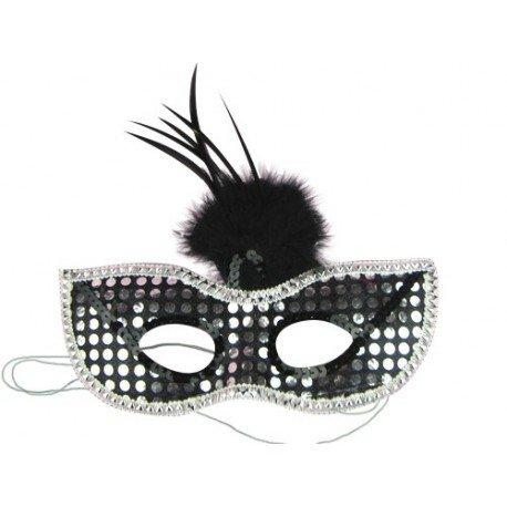 Partyaugenmaske mit Strass und schwarzem Federbommel