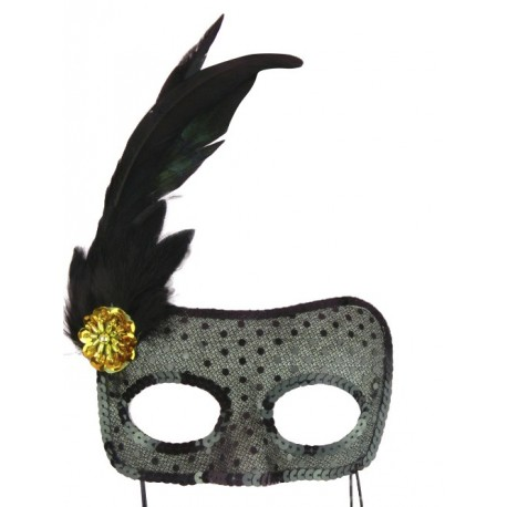 Augenmaske mit schwarzem Strass für sexy Abende