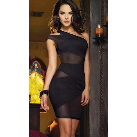 Sexy, hautenges, teilweise durchsichtiges Kleid