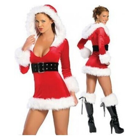 Verkleidung Rotes Weihnachtsfrauenkleid mit Kapuze