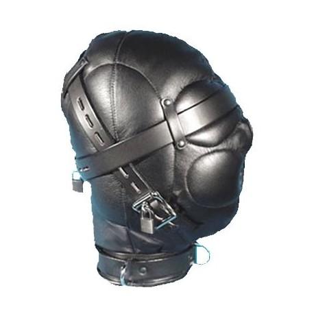 Komplett geschlossene SM-Maske aus Leder für Bondage/ BDSM