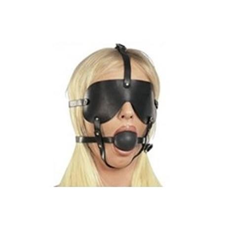 Harness Gag Ball groß mit Augenmaske aus Kunstleder