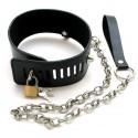 """Collier BDSM Bondage en cuir : """"Coeur Bleu"""" Verrouillable par cadenas + Laisse"""