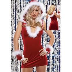 Sexy Weihnachtsfraukostüm: Sexy Kleid mit tiefem Ausschnitt, Kapuze und Gelenkbändern
