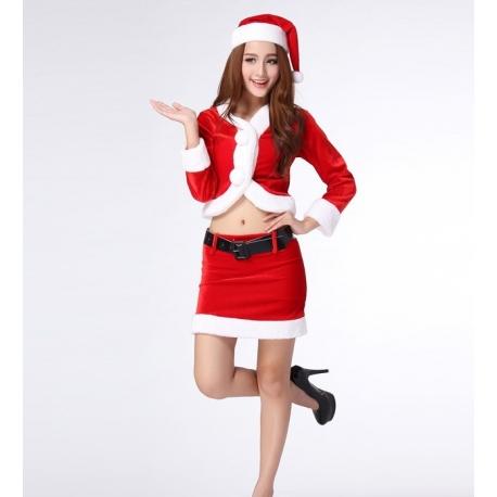 Weihnachtskostüm als Uniform - komplettes Damenkostüm sexy Weihnachtsfrau