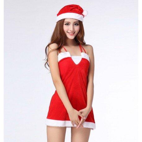 Nachthemd Weihnachtsfrau - Glamourös & sexy - Mit Mütze
