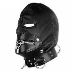 SM-Maske aus Leder mit Reißverschluss, Schloss und Halsband