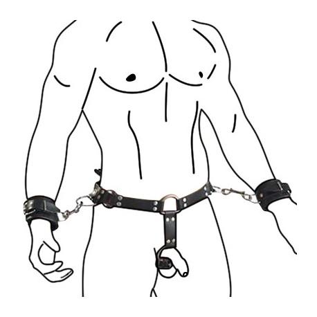 Ledergürtel für Männer mit Handfesseln