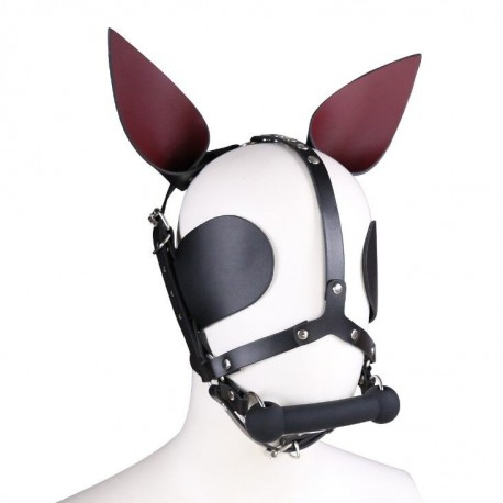 Bâillon de cheval avec oreilles et oeillères en cuir