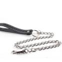 Collier BDSM en métal avec laisse chaine en cuir