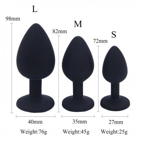 Lot de 3 rosebud plug anal en silicone S M L