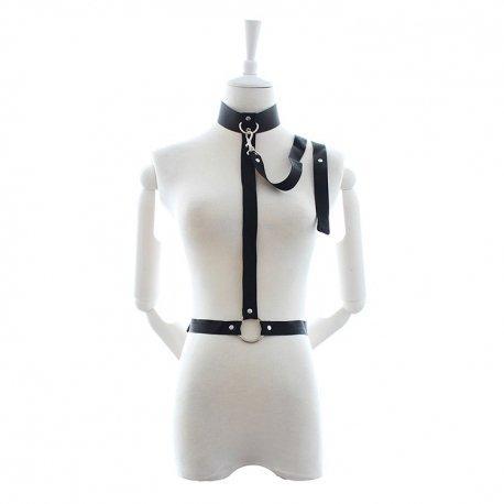 Harnais SM avec avec collier ras du cou et laisse en nylon