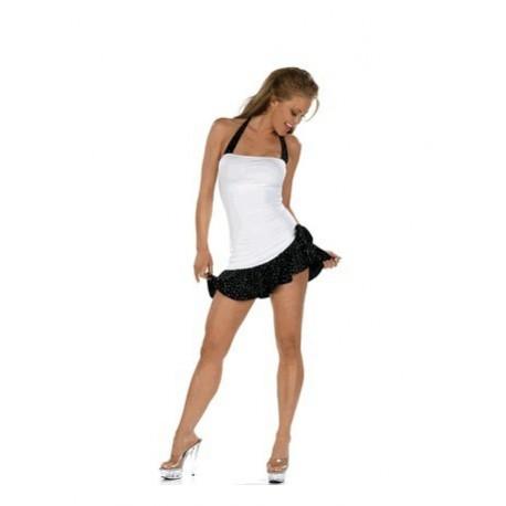 Engen Kleid und weißen Rüschen schwarzen Rock