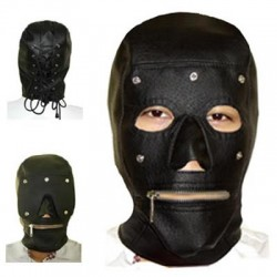 Maske mit abnehmbarer Augenmaske und Reißverschluss am Mund