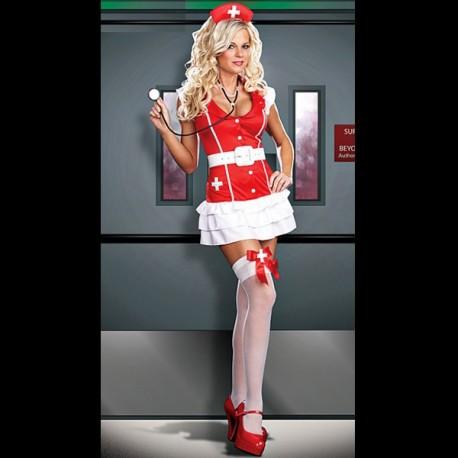 Sexy Kostüme: Nurse Dress Rot und Weiß