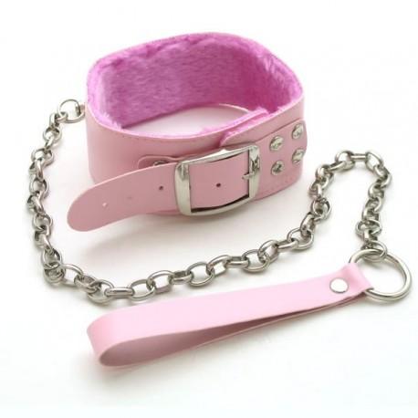 Halsband + Leine in rosa Leder und Pelz