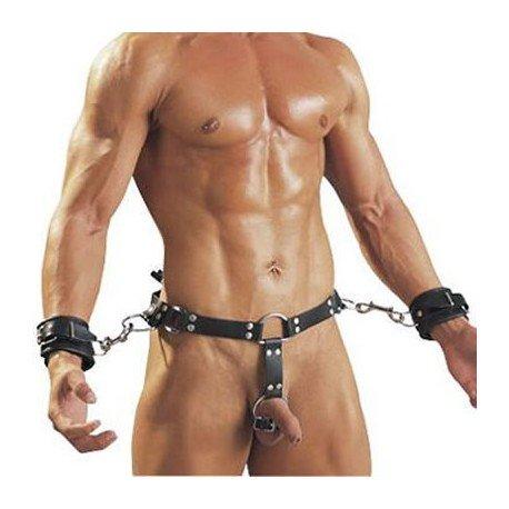 Ledergürtel für Männer mit Handschellen