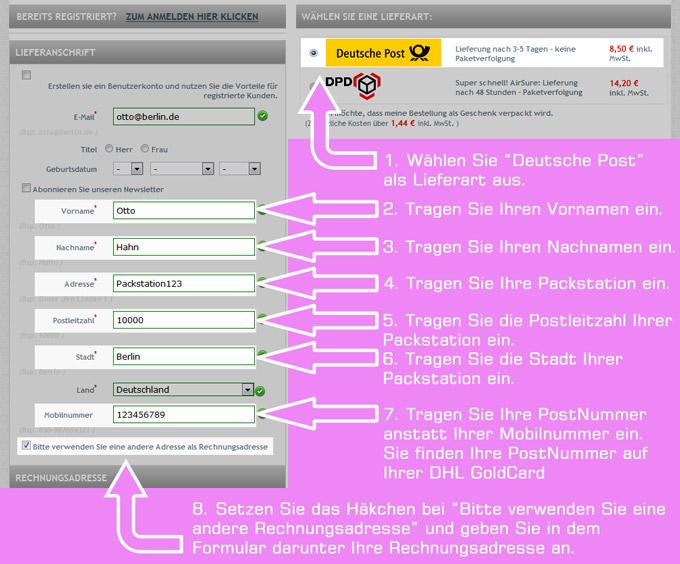 Packstation Bestellung Informationen